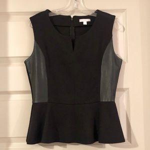 Trendy Black Peplum Leather Top
